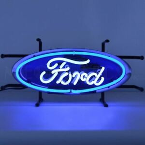 """Neon Sign - Ford Blue Oval Junior With Backing 17"""" * Great Looking! Free US Ship"""