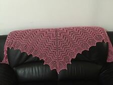 handknit silk/cotton/wool/mohair blend lace scarf/stole/wrap
