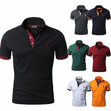 Mens Short Sleeve Slim Fit Polo Shirts Business Working Golf T-shirt Tops Tee
