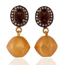 Smoky Quartz and White Zircon Gold Plated Dangle Earrings Ethnic Fashion Jewelry