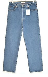 Womens Levis RIBCAGE STRAIGHT High Waisted Premium Blue Jeans Size 14 W32