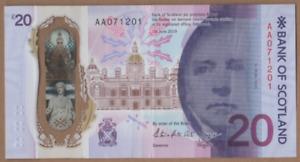 BANK OF SCOTLAND FIRST PREFIX £20   [ AA 071201 ] FREEPOST RECORDED UK