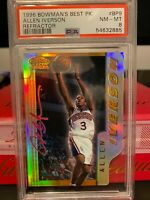 1996 BOWMAN'S BEST PICKS ALLEN IVERSON REFRACTOR RC ROOKIE #BP9 PSA 8 *POP 10*