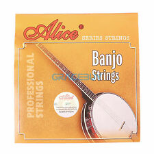 Alice 5 String Banjo Strings Coated Copper Alloy Wound Strings Set of 5 Pcs New