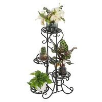 4 Tier Metal Plant Stand Garden Decor Planter Holder Flower Pot Shelf Rack Black