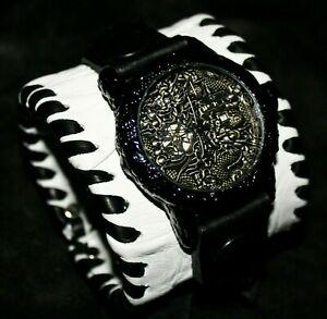 Dragon Design White Leather Watch Wrist band Bracelet Steampunk GOTHIC