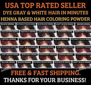 BLACK HENNA HAIR DYE POWDER 6 SACHETS 10G ECH 13 COLORS MEN&WOMEN