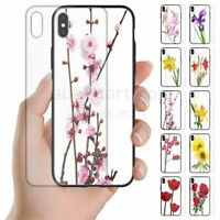 For OPPO Series - Flower Print Tempered Glass Back Case Mobile Phone Cover