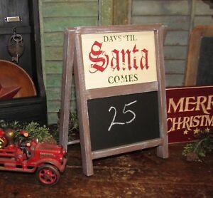 Primitive Antique Vtg Style Christmas Days Till Santa Chalkboard Shelf Wall Art