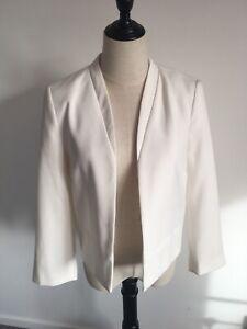New Look White Ivory Blazer Jacket Size 12 Wedding Guest Summer Vgc 🤍