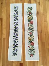 2 COMPLETED Floral Needlepoint Pictures Long Banners 40x9 - Roses & Violets