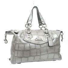 COACH Ashley Silver Platinum Gray Croc Embossed Leather Handbag CarryAll Satchel