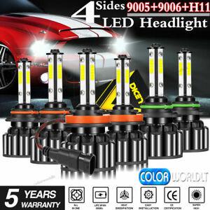 4-Sides 9005 9006 H11 LED Combo Headlight High Low Beam Bulb White Fog Light Kit