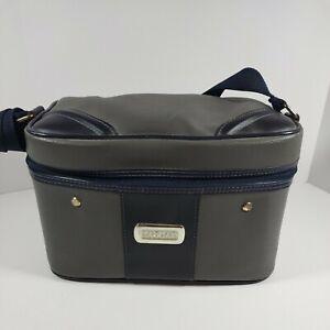 Jaguar Carry On Train Case Cosmetic Toiletry Bag Travel Purse Satchel Gray Blue