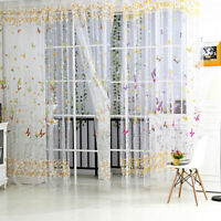 Butterfly Floral Tulle Voile Window Curtain Drape Panel Sheer Scarf Valance K1B