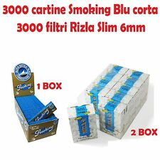 3000 CARTINE SMOKING BLU CORTE + 3000 FILTRI RIZLA SLIM 6mm + accendino