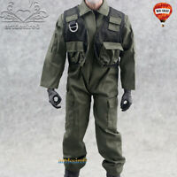 """1/6 Scale Green Soldier F14/F15 Pilot Uniforms Jumpsuit Clothing For 12"""" Figure"""