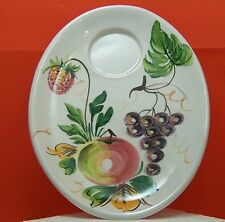 "Oval Dessert Dish Ceramic Italian, Fruit motif, 10 1/2"" dish with cup place"
