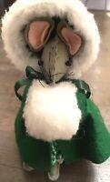 "Vintage Christmas Mice Mouse Felt Ornament Decoration Felt Green Muff Dress 8"""