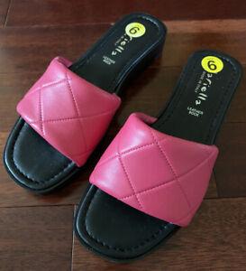 NWOB Mariella Slide Leather Band Fuschia Sandal sz 9