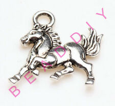 50pcs Silver Plated Two-Sided Sturdiness Horse Charm Pendants DIY 16mm
