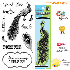 Fiskars Clear Cling STAMPS Peacock Elegance - for Card Making & Stamping