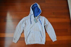 ASTON MARTIN CHILDS GRAY WITH BLUE FULL ZIP HOODIE SWEATSHIRT SIZE X OEM 704716