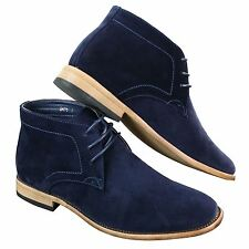 Mens Suede Lace Ankle Chukka Boots Chelsea Dealer Shoes Navy Blue Brown Black PU
