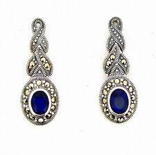 Art Deco Silver Sapphire Blue Marcasite Earrings