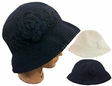 WHOLESALE 12 PCS Fashion Beanie Knit Bucket Bowler Hat with Flower- only Black