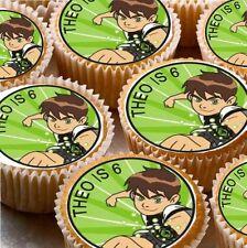 24 Personalizzata BEN 10 CIALDE di riso CUP CAKE-FATA Decorazioni per Torta x24