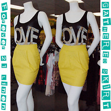 New & Cute FOREVER 21 Women's Linen Mustard Gathered Skirt w/2Pockets Size Small
