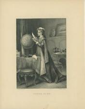 ANTIQUE VICTORIAN WOMAN NOTE LETTER WORD GLOBE PARLOR CHAIR DESK ART PRINT