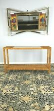 Vintage Boho Chic Bamboo Rattan Console Table Mid-Century Glass Parsons