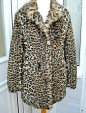 Leopard Print Faux Fur Coat Long Hair New Look Size 8 Vamp Glamorous Warm winter