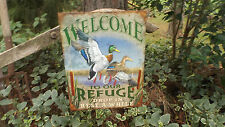 """""""Welcome"""" Tin Wall Decor Metal Sign With 2 Mallards Hunting Cabin Signs"""