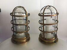 Pair (2) Antique Nautical Brass Cage Ship Passage Bulkhead Lights