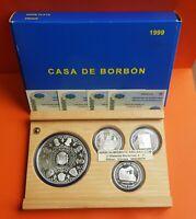 CASA DE BORBON 3 monedas 2000 PESETAS + 10000 PESETAS 1999 PLATA ESTUCHE FNMT