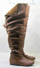 ladies TAN flat  ROUND toe  sexy over  knee thigh high boots .Size  6