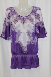 Chico's Women's Peasant Blouse Purple Floral Drop Waist White BoHo Size 0 New