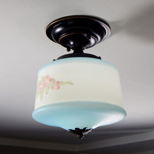 Semi-Flush Ceiling Light Fixture. Vintage Painted Shade with New Oil Rubbed Bron