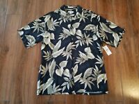 Pierre Cardin NWT Black/Pyrite  Hawaiian Camp Aloha Shirt