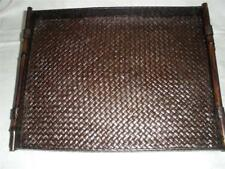 RATTAN AND BAMBOO SERVING TRAY LARGE CHOCOLATE BROWN