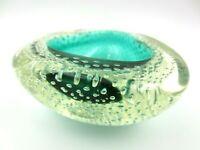 RARE Murano Archimede Seguso GREEN bullicante controlled bubble bowl perfect