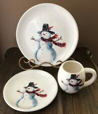 Snowman with Scarf  12pc DINNERWARE SET Service for 4 HAND PAINTED Stoneware NEW