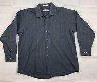 Calvin Klein Mens Long Sleeve Stripped Cotton Button Up Dress Shirt 17-1/2 34/35