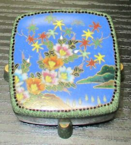 RARE OLD ANDO JAPANESE CLOISONNE GREEN ENAMEL BUTTERFLY BOX