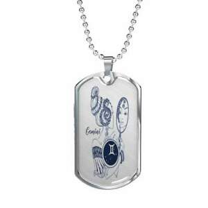 Gemini Constellation Horoscope Zodiac Necklace Dog Tag Stainless Steel or 18k Go