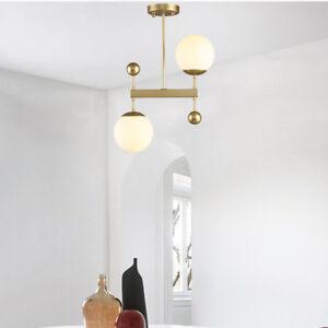 Nordic Minimal Black/Gold Metal Linear Ceiling Pendant Light 2 Mini Glass Globes