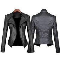 Womens Leather Jacket Slim Fit Coat Outwear Motorcycle Zip Up Blazer Outwear